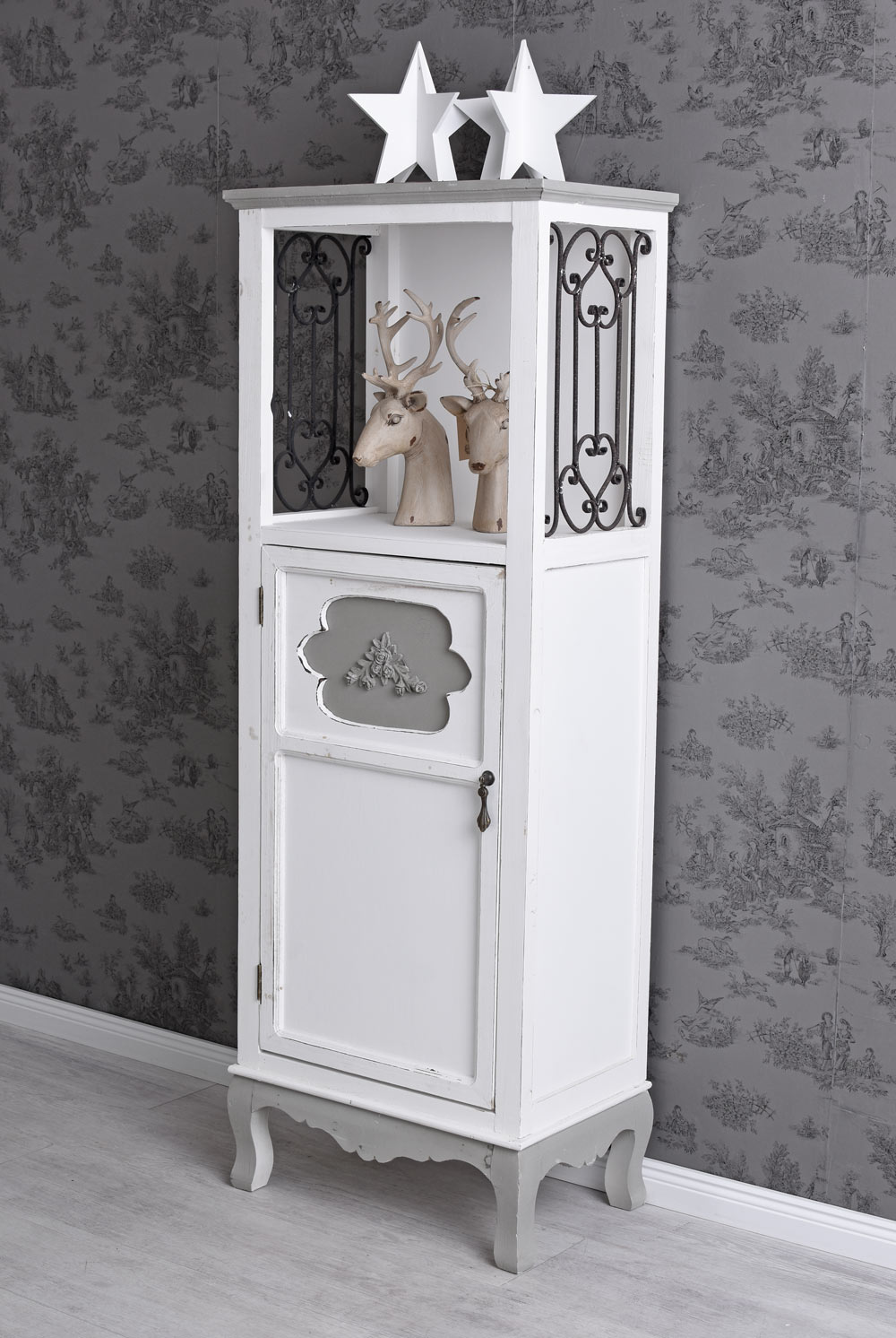 garderobenschrank holzschrank holzregal shabby chic badregal badezimmerschrank ebay. Black Bedroom Furniture Sets. Home Design Ideas
