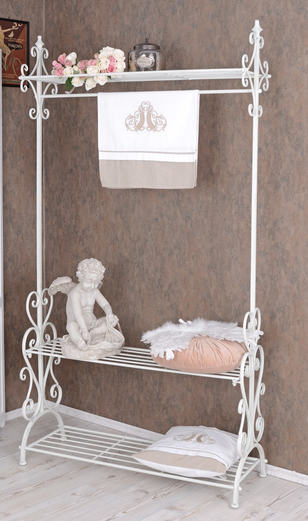standgarderobe weiss metall garderobe shabby chic flurgarderobe kleiderst nder ebay. Black Bedroom Furniture Sets. Home Design Ideas
