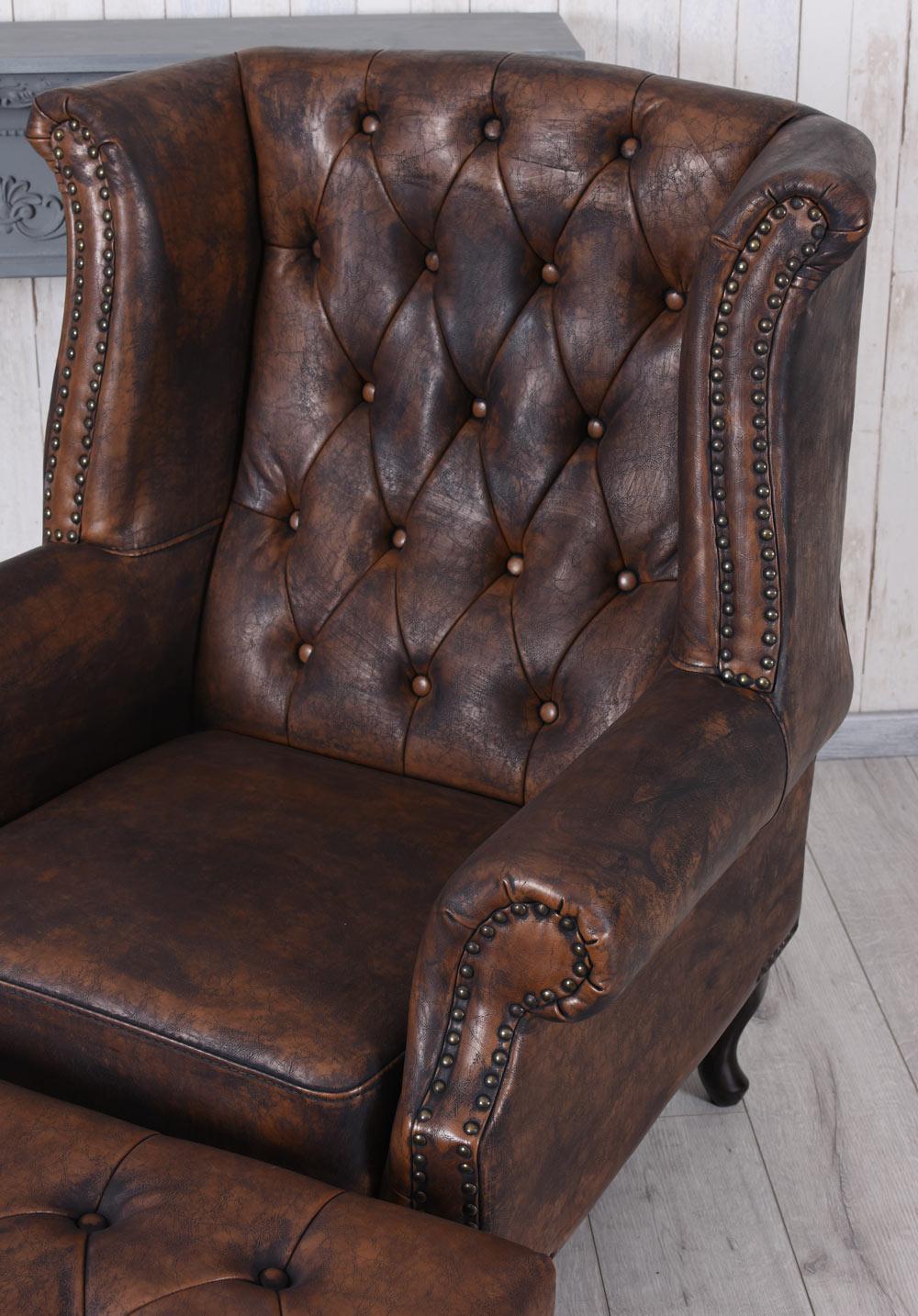 englischer sessel mit hocker ohrensessel kaminsessel antik fernsehsessel ottoman ebay. Black Bedroom Furniture Sets. Home Design Ideas