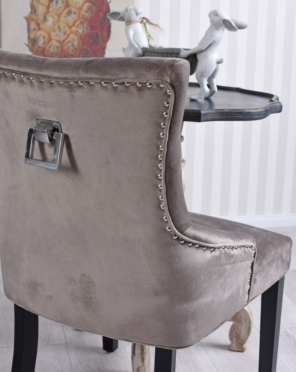 Ring Chair Metal Handle Dining Chair Studded Living Room Chair
