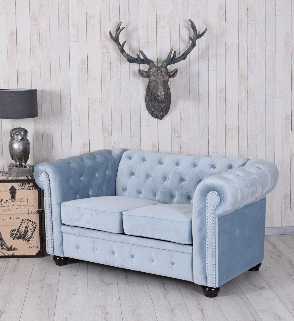 Chesterfield Sofa Samt Couch Polstersofa Sitzmöbel British Chic