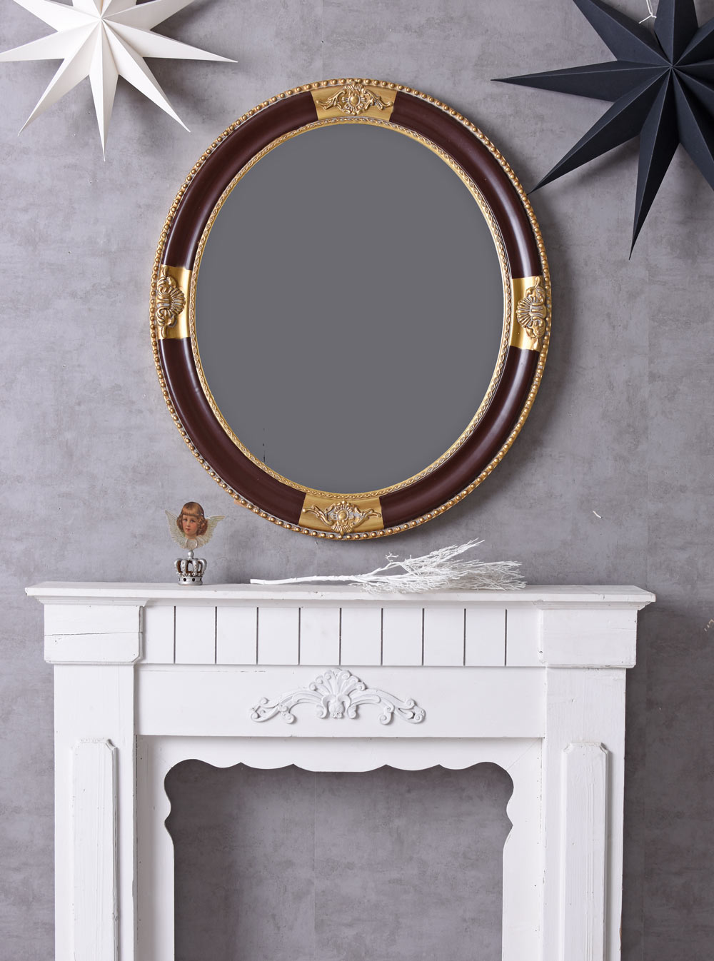 spiegel rund wandspiegel barock dekospiegel kaminspiegel flurspiegel antik gold ebay. Black Bedroom Furniture Sets. Home Design Ideas