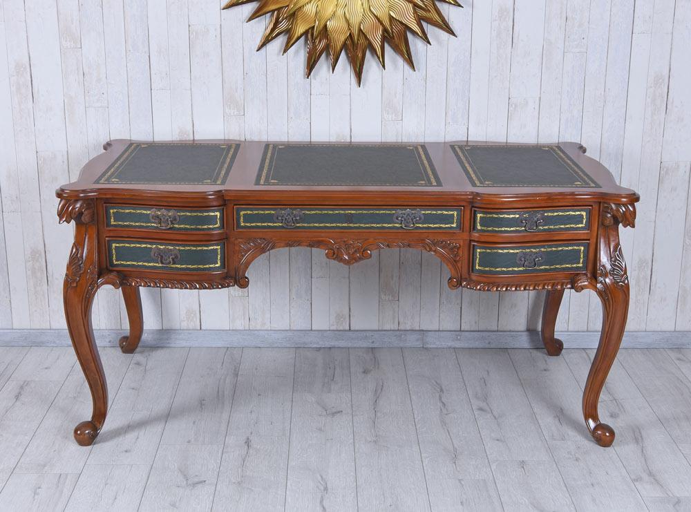 Barock Schreibtisch Antik Computertisch Mahagoni Holz Chefschreibtisch  Ledereinlage