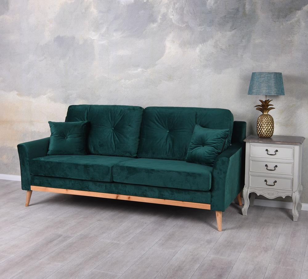 design sofa smaragd gr n dreisitzer samt couch polstersofa. Black Bedroom Furniture Sets. Home Design Ideas