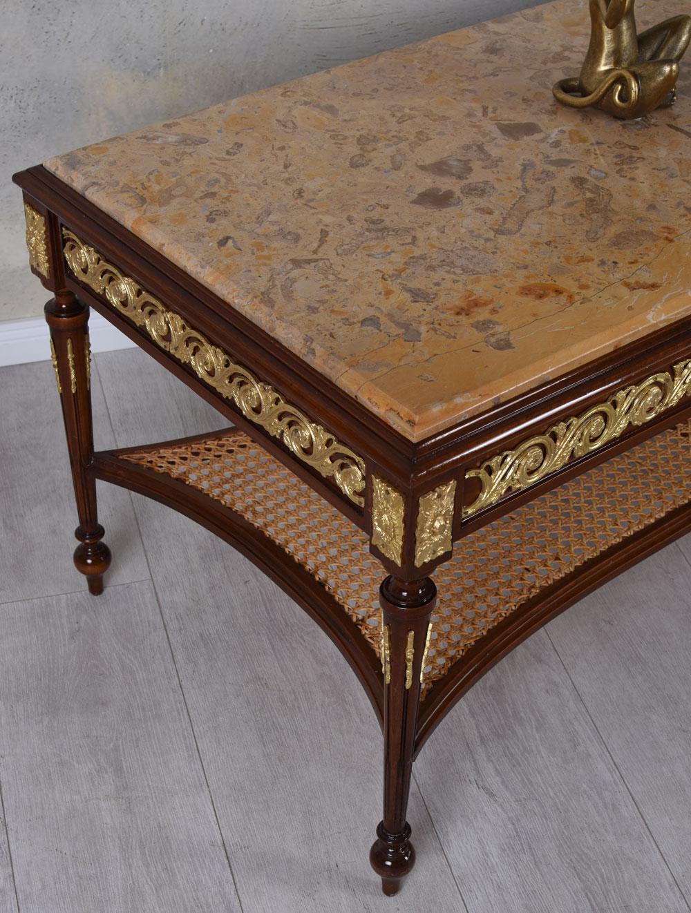 Couchtisch barock tisch marmorplatte wohnzimmertisch antik for Couchtisch marmorplatte