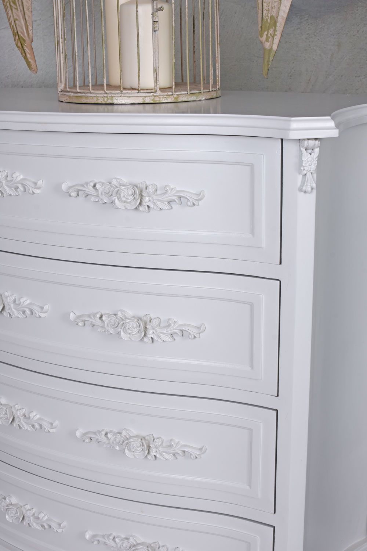 Wäschekommode Shabby Chic Schubladenschrank Kommode Weiss Schlafzimmer Möbel