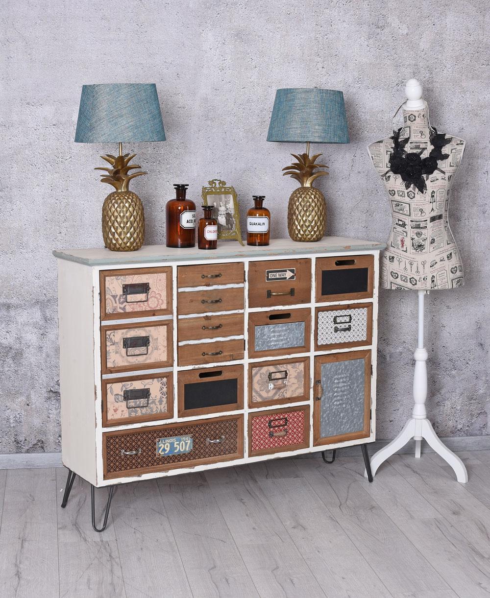 Vintage Anrichte Loft Zimmer Kommode Schubladenschrank Sideboard Schrank