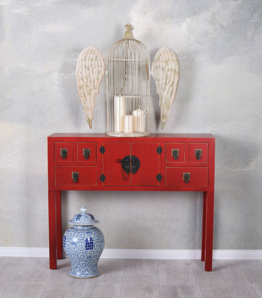 Détails sur Chine Console Rouge Table de Mur Table Console Feng Shui Meuble  Buffet Commode