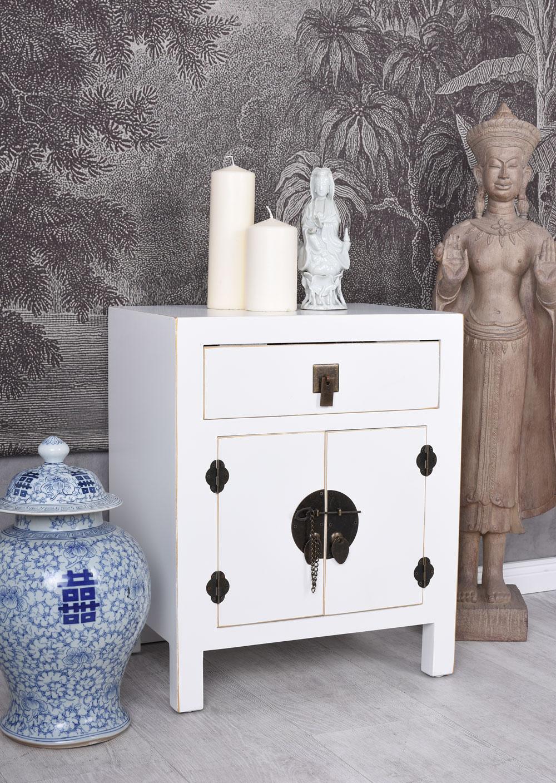 China Nachtschrank Weiss Nachtkommode Nachtkonsole Nachttisch Feng Shui Schrank