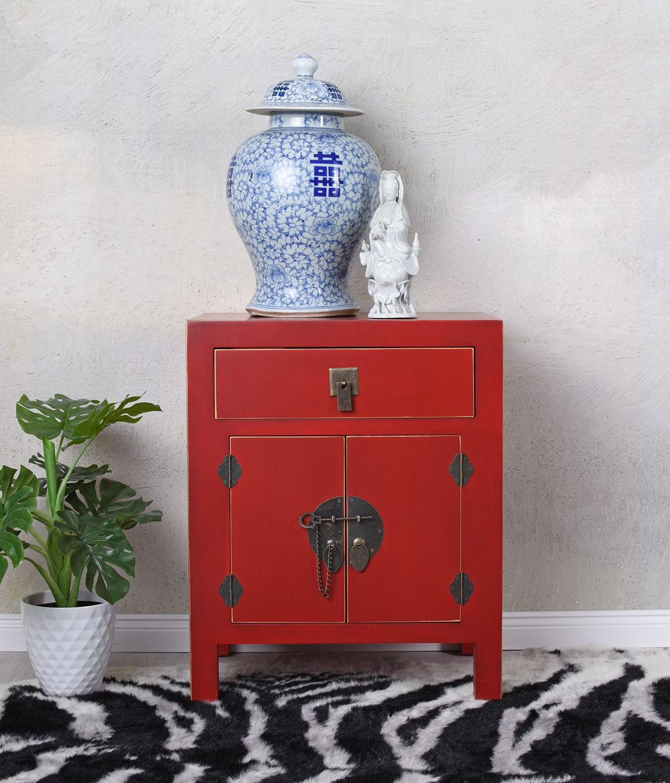 Schrank Feng Shui Nachttisch Nachtkommode Nachtkonsole China Rot