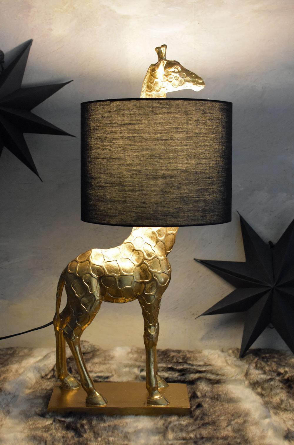 Détails sur Lampe de Table Girafe Or Noir Lampe de Chevet Salon 70cm Lampe