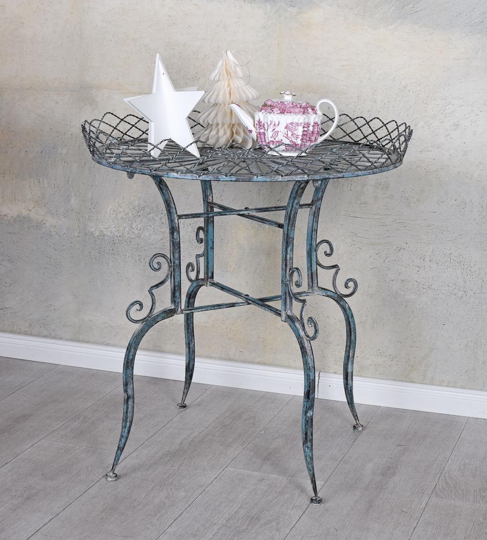 Table D'Appoint Métal de Jardin en Fer Style Campagnard Rond ...
