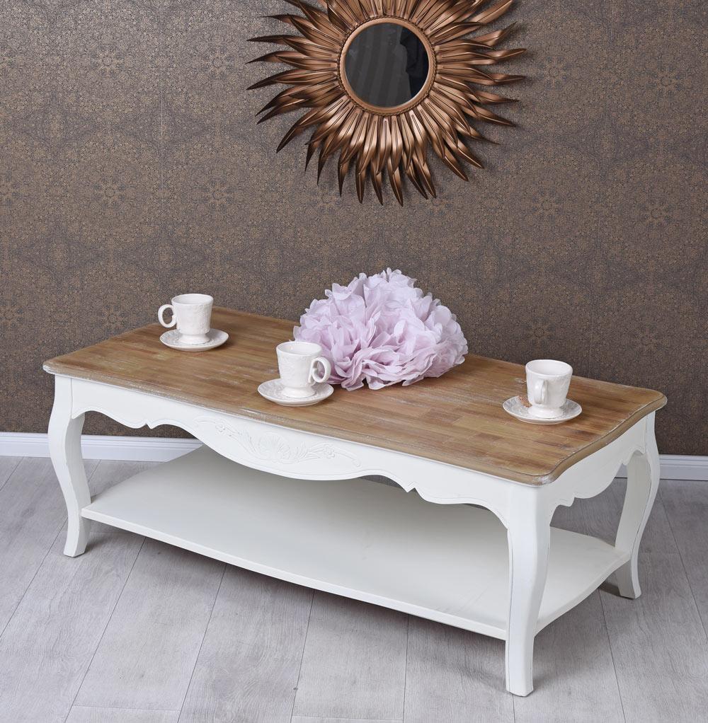 Cepewa Tavolino da salotto in legno a 3 unit/à colore: Bianco