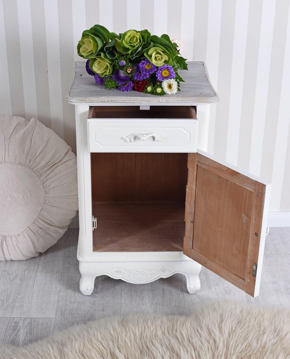 nachtschrank shabby chic nachttisch schrank weiss nachtkommode nachtkonsole neu ebay. Black Bedroom Furniture Sets. Home Design Ideas