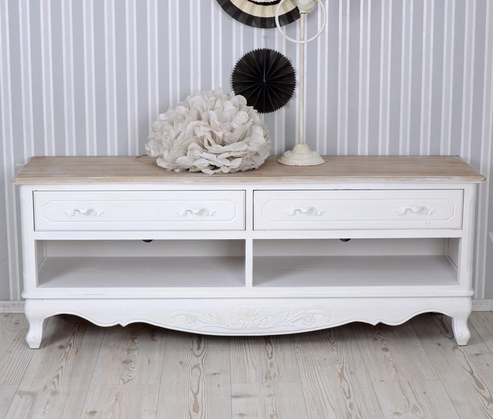 fernsehtisch shabby weiss tv m bel vintage sideboard landhausstil tv schrank neu ebay. Black Bedroom Furniture Sets. Home Design Ideas