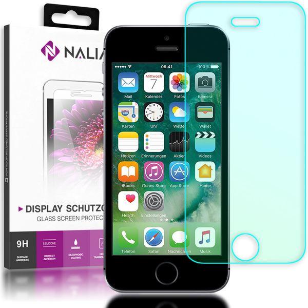 NALIA Schutzglas kompatibel mit iPhone SE / 5 / 5S / 5C, Full-Cover Displayschutz Handy-Folie, 9H gehärtete Glas-Schutzfolie Bildschirm-Abdeckung, Schutz-Film Clear HD Screen Protector - Transparent – Bild 1