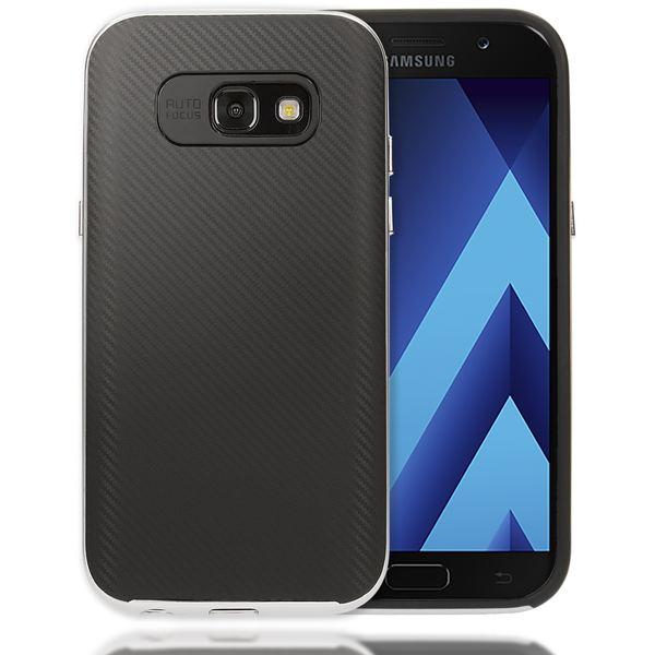 NALIA Handyhülle kompatibel mit Samsung Galaxy A3 2017, Carbon Design mit Metall-Look Rahmen, Ultra-Slim Schutzhülle Silikon Case Dünne Etui Hülle Handy-Tasche Smart-Phone Back-Cover – Bild 2