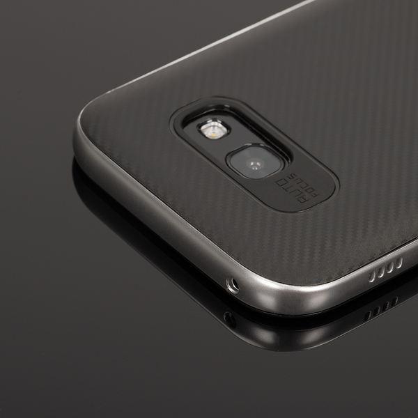 NALIA Handyhülle kompatibel mit Samsung Galaxy A3 2017, Carbon Design mit Metall-Look Rahmen, Ultra-Slim Schutzhülle Silikon Case Dünne Etui Hülle Handy-Tasche Smart-Phone Back-Cover – Bild 3