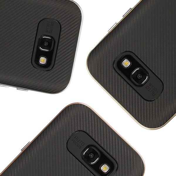 NALIA Handyhülle kompatibel mit Samsung Galaxy A3 2017, Carbon Design mit Metall-Look Rahmen, Ultra-Slim Schutzhülle Silikon Case Dünne Etui Hülle Handy-Tasche Smart-Phone Back-Cover – Bild 1