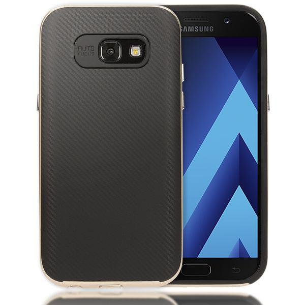 NALIA Handyhülle kompatibel mit Samsung Galaxy A5 2017, Carbon Design mit Metall-Look Rahmen Ultra-Slim Schutzhülle Silikon Case, Dünne Etui Hülle Handy-Tasche Smart-Phone Back-Cover – Bild 8