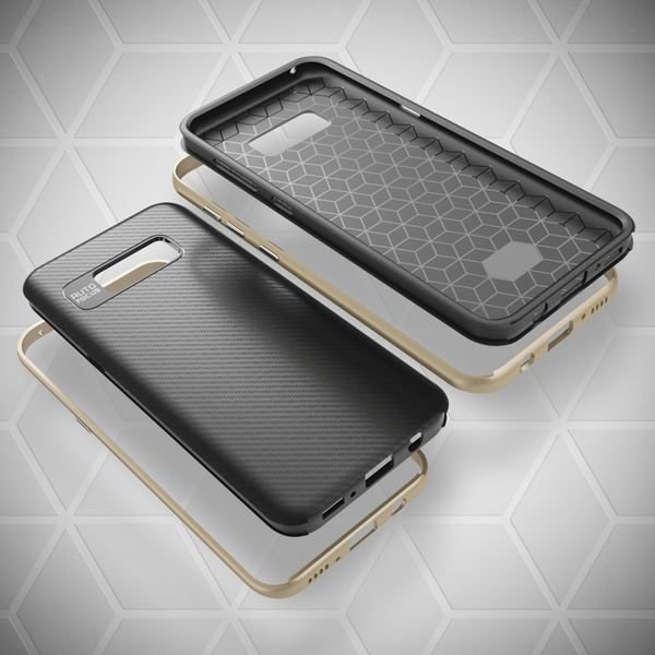 NALIA Handyhülle kompatibel mit Samsung Galaxy S8, Carbon Design mit Metall-Look Rahmen, Ultra-Slim Schutzhülle Silikon Case, Dünne Etui Hülle Handy-Tasche Smart-Phone Back-Cover – Bild 9