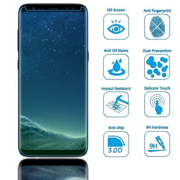 NALIA Schutzglas kompatibel mit Samsung Galaxy S8 Plus, 3D Full-Cover Displayschutz Hüllen-Kompatibel, 9H Glas-Schutzfolie Handy-Folie Schutz-Film HD Screen Protector Tempered Glass - Transparent – Bild 2