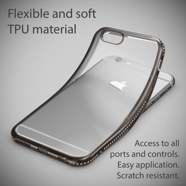 NALIA Handyhülle kompatibel mit iPhone 6 6S, Durchsichtiges Slim Silikon Case Hülle Transparente Rückseite & Farbiger Strass Bumper, Crystal Schutzhülle Back-Cover Skin Etui Dünn – Bild 20