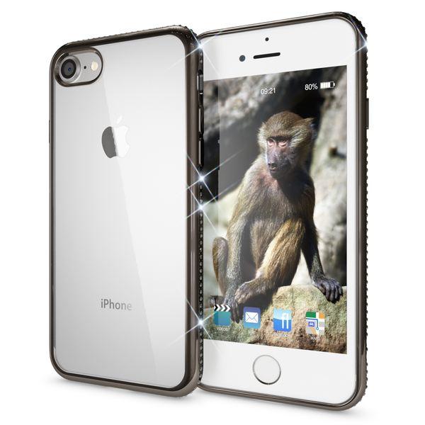 NALIA Handyhülle kompatibel mit iPhone 8 / 7, Durchsichtiges Slim Silikon Case Hülle Transparente Rückseite & Farbiger Strass Bumper, Crystal Schutzhülle Back-Cover Skin Etui Dünn – Bild 22