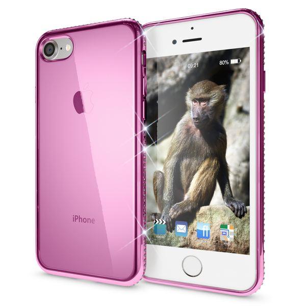 NALIA Handyhülle kompatibel mit iPhone 8 / 7, Durchsichtiges Slim Silikon Case Hülle Transparente Rückseite & Farbiger Strass Bumper, Crystal Schutzhülle Back-Cover Skin Etui Dünn – Bild 17