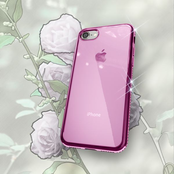 NALIA Handyhülle kompatibel mit iPhone 8 / 7, Durchsichtiges Slim Silikon Case Hülle Transparente Rückseite & Farbiger Strass Bumper, Crystal Schutzhülle Back-Cover Skin Etui Dünn – Bild 21