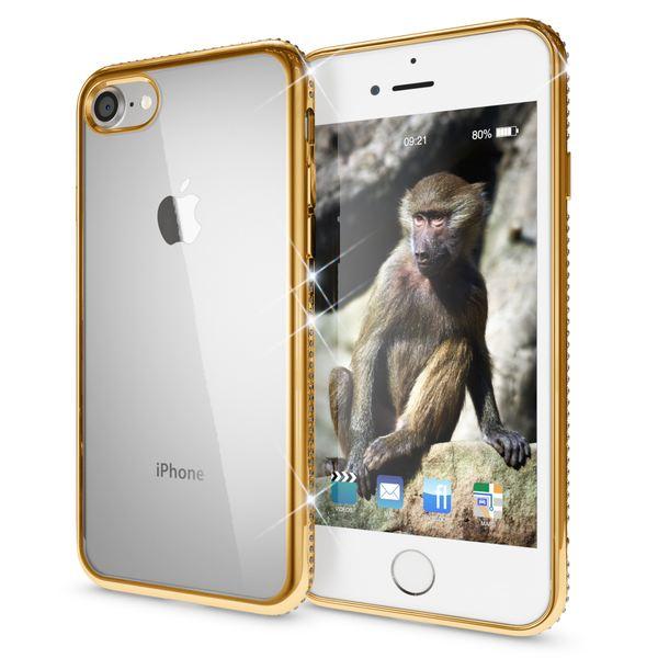 NALIA Handyhülle kompatibel mit iPhone 8 / 7, Durchsichtiges Slim Silikon Case Hülle Transparente Rückseite & Farbiger Strass Bumper, Crystal Schutzhülle Back-Cover Skin Etui Dünn – Bild 7
