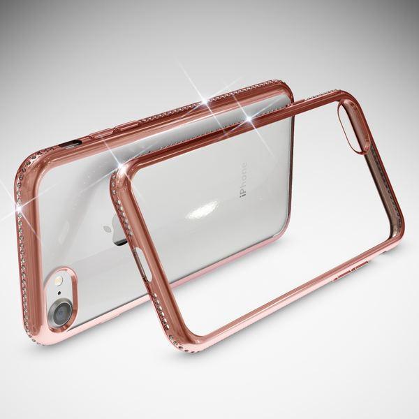 NALIA Handyhülle kompatibel mit iPhone 8 / 7, Durchsichtiges Slim Silikon Case Hülle Transparente Rückseite & Farbiger Strass Bumper, Crystal Schutzhülle Back-Cover Skin Etui Dünn – Bild 13