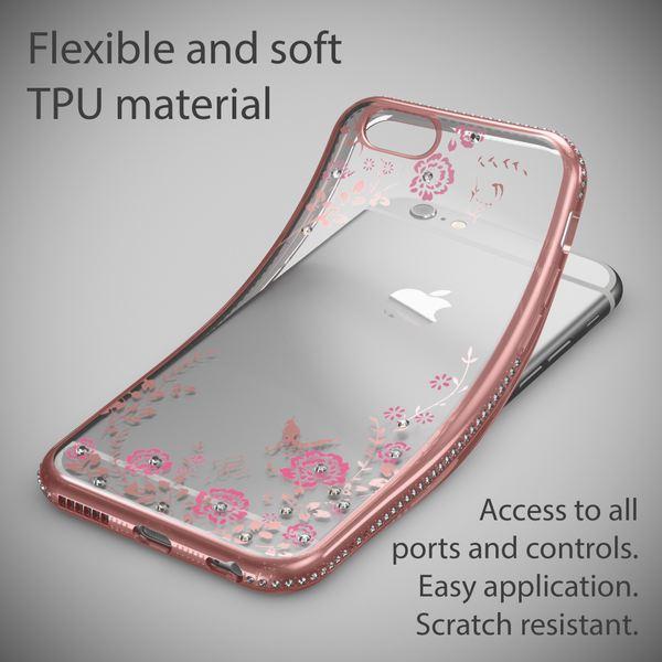NALIA Handyhülle für Apple iPhone 6 6S, Durchsichtiges Slim Silikon Case Blumen-Muster Metall-Optik Dünne Schutz-Hülle Glitzer-Steine Bling Cover Etui Bumper Handy-Tasche iP-6 – Bild 9