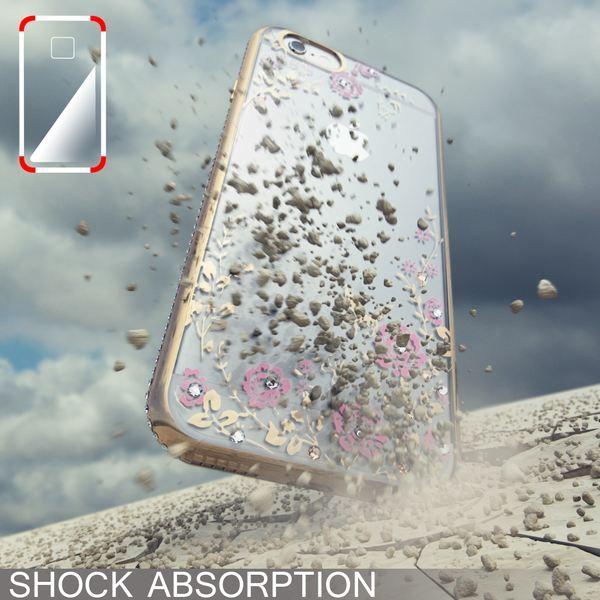 NALIA Handyhülle für Apple iPhone 6 6S, Durchsichtiges Slim Silikon Case Blumen-Muster Metall-Optik Dünne Schutz-Hülle Glitzer-Steine Bling Cover Etui Bumper Handy-Tasche iP-6 – Bild 11