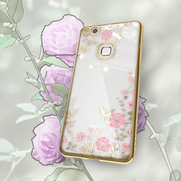 NALIA Handyhülle kompatibel mit Huawei P10 Lite, Durchsichtiges Slim Silikon Case Blumen-Muster Metall-Optik, Dünne Schutzhülle Glitzer-Steine Bling Cover Etui Handy-Tasche Skin Hülle – Bild 6