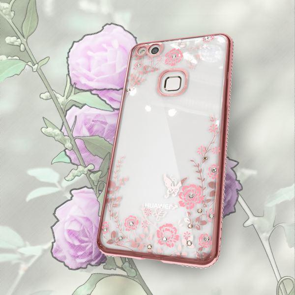 NALIA Handyhülle kompatibel mit Huawei P10 Lite, Durchsichtiges Slim Silikon Case Blumen-Muster Metall-Optik, Dünne Schutzhülle Glitzer-Steine Bling Cover Etui Handy-Tasche Skin Hülle – Bild 12