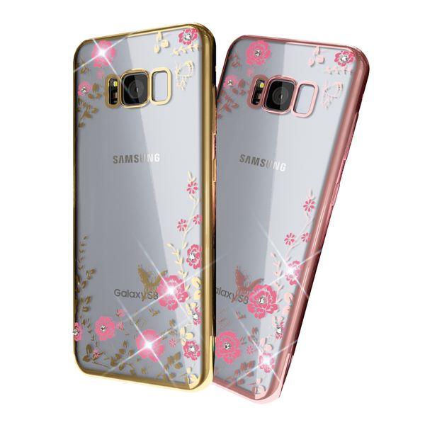 NALIA Handyhülle kompatibel mit Samsung Galaxy S8, Durchsichtiges Slim Silikon Case Blumen-Muster Metall-Optik, Dünne Schutzhülle Glitzer-Steine Bling Cover Etui Handy-Tasche Skin Hülle – Bild 1