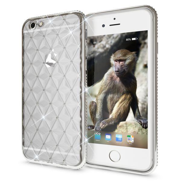 NALIA Handyhülle kompatibel mit iPhone 6 6S, Durchsichtiges Slim Silikon Case Strass Muster Metall-Optik, Dünne Schutz-Hülle Glitzer-Steine Bling Cover, Handy-Tasche Schale Bumper – Bild 2