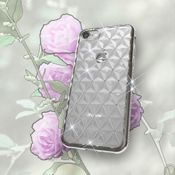 NALIA Handyhülle kompatibel mit iPhone 8 / 7, Durchsichtiges Slim Silikon Case Strass Muster Metall-Optik, Dünne Schutz-Hülle Glitzer-Steine Bling Cover, Handy-Tasche Schale Bumper – Bild 5