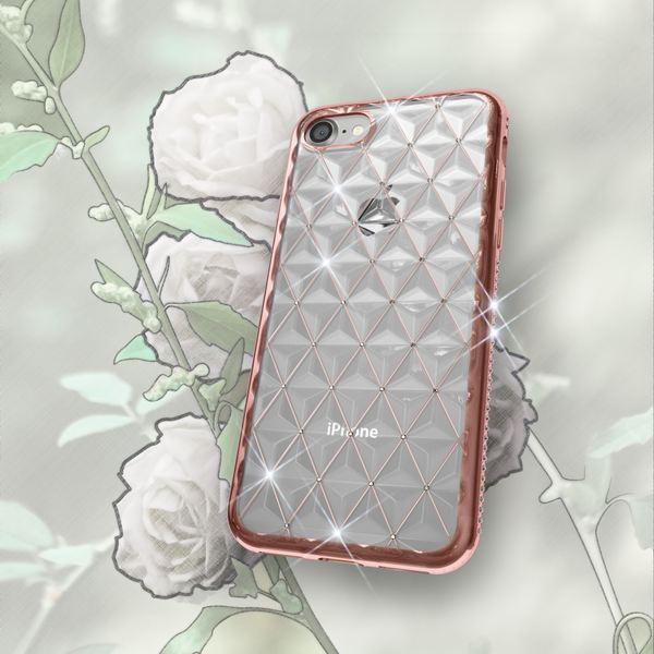 NALIA Handyhülle für iPhone 8 / 7, Durchsichtiges Slim Silikon Case Strass-Muster, Metall-Optik Dünner Schutz-Hülle Glitzer Bling Cover Etui, Bumper Handy-Tasche für Apple i-P 7 / 8 – Bild 13
