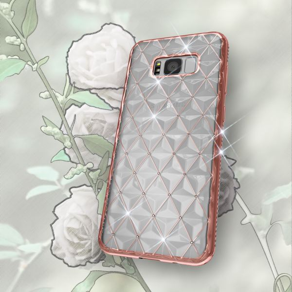 NALIA Handyhülle kompatibel mit Samsung Galaxy S8 Plus, Durchsichtiges Slim Silikon Case Strass Muster Metall-Optik, Dünne Schutz-Hülle Glitzer-Steine Bling Cover, Handy-Tasche Bumper – Bild 8
