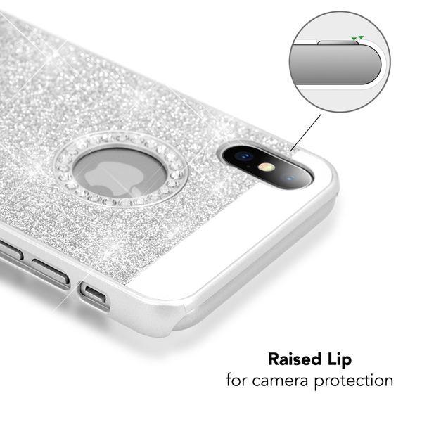 NALIA Glitzer Hülle kompatibel mit iPhone X XS, Glitter Sparkle Handyhülle Slim Hard-Case Back-Cover Schutzhülle, Dünne Bling Strass Handy-Tasche Schale Etui Smart-Phone Bumper – Bild 8