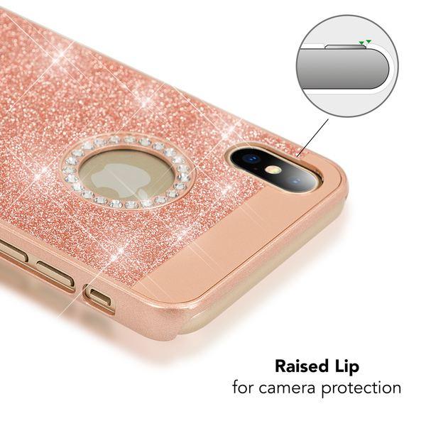 NALIA Glitzer Hülle kompatibel mit iPhone X XS, Glitter Sparkle Handyhülle Slim Hard-Case Back-Cover Schutzhülle, Dünne Bling Strass Handy-Tasche Schale Etui Smart-Phone Bumper – Bild 18