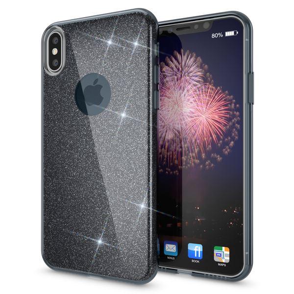 NALIA Glitzer Hülle kompatibel mit iPhone X XS, Glitter Sparkle Handyhülle Slim Silikon Case Back-Cover Schutzhülle, Dünne Handy-Tasche Schale Bumper Bling Strass Smart-Phone Etui – Bild 2