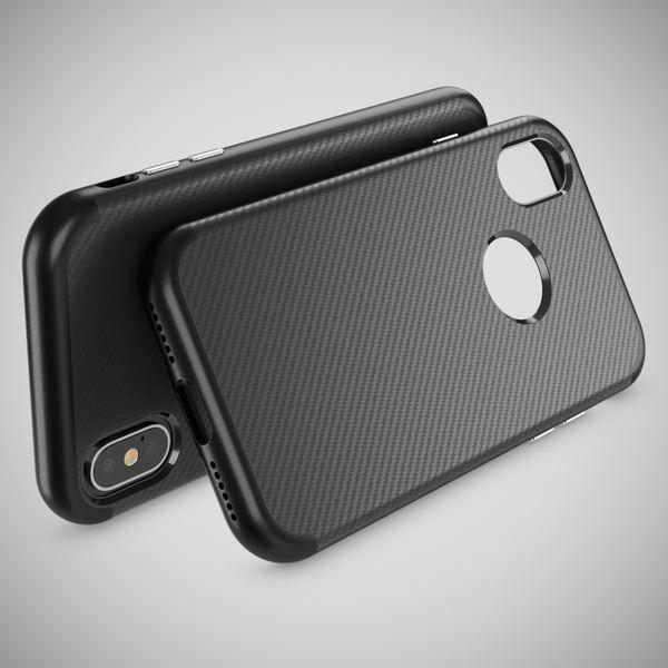NALIA Carbon-Hülle für iPhone X XS, Ultra-Slim Handyhülle Silikon Case Bumper, Dünne Schutz-Hülle mit Metall-Look Rahmen, Etui Handy-Tasche Back-Cover für Apple i-Phone X XS – Bild 3