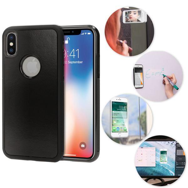 NALIA Anti-Gravity Hülle kompatibel mit iPhone X XS, Dünne Handyhülle Zero-Gravity selbstklebende Silikon Selfie Schutzhülle, Slim Back-Cover Bumper Skin Case Handy-Tasche Smart-Phone Etui - Schwarz – Bild 1