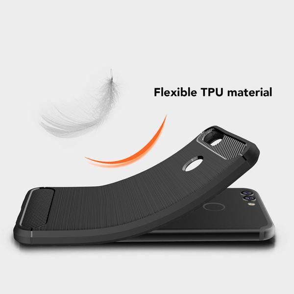 NALIA Handyhülle kompatibel mit Huawei Nova 2, Carbon-Look Design Ultra-Slim Silikon Case Back-Cover, Dünne Schutzhülle Etui Handy-Tasche Telefon-Schale Skin Bumper Smart-Phone Gummi Hülle - Schwarz – Bild 6