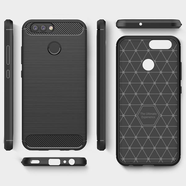 NALIA Handyhülle kompatibel mit Huawei Nova 2, Carbon-Look Design Ultra-Slim Silikon Case Back-Cover, Dünne Schutzhülle Etui Handy-Tasche Telefon-Schale Skin Bumper Smart-Phone Gummi Hülle - Schwarz – Bild 7
