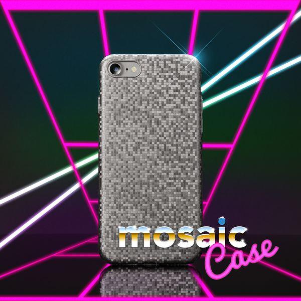 NALIA Handyhülle kompatibel mit iPhone 8 / 7, Mosaik Slim Hard-Case Backcover Schutzhülle, Handy-Tasche im Metall-Look, Dünnes Glänzendes Karo Etui Skin Hülle Fliesen-Muster – Bild 9
