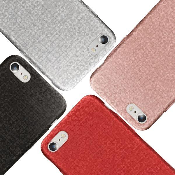 NALIA Handyhülle kompatibel mit iPhone 8 / 7, Mosaik Slim Hard-Case Backcover Schutzhülle, Handy-Tasche im Metall-Look, Dünnes Glänzendes Karo Etui Skin Hülle Fliesen-Muster – Bild 1